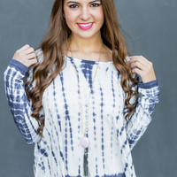 Cotton Candy Top in White/Blue