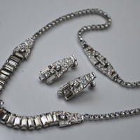 Vintage Sterling Phyllis Art Deco Rhinestone necklace and earrings
