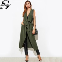 Sheinside Green Patch Pocket Detail Waterfall Vest Autumn Sleeveless Plain Vests Outer With Belt 2017 Women's Casual Outer
