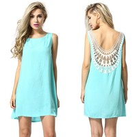 MapleClan Women's Hollowed Lace Back Sleeveless Mint Green A line Dress