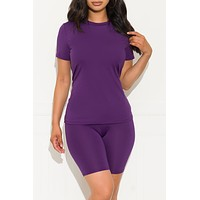 Chill Out Set Round Neck  Purple