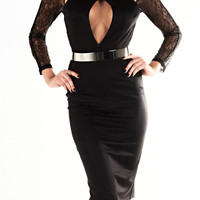 Lacey Black Key Hole Dress