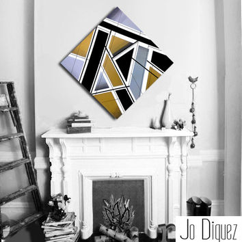Original abstract painting canvas art. 33 3/4x33 3/4. Geometric with silver, gold, black. Big painting. Metallic art. Modern wall art.
