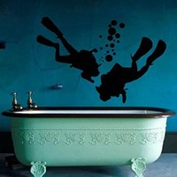 Wall Decor Vinyl Decal Sticker Sport Men Scuba Diver Diving Bubbles Sea Spa Salon Bathroom Home Interior Design Kg670