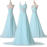 2013 New Long Chiffon Bridesmaid Evening Formal Party Ball Gown Prom Full Dress