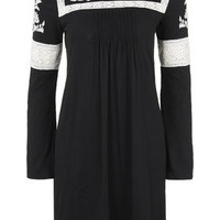 TALL Embroidered Smock Dress - Black