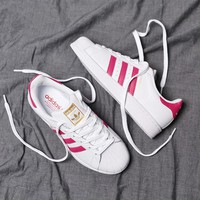 """Adidas"" Superstar Shell toe White/Rose red Casual Sneakers"