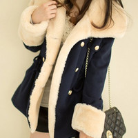 Blue Double-Breasted Waist Drawstring Long Sleeves Coat
