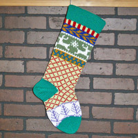 Personalized Hand Knit Christmas Stocking in Kelly Green with Reindeer and Trees, colorful stocking, Fair Isle stocking