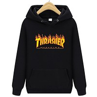 Thrasher Autumn And Winter New Fashion Flame Letter Print Hooded Long Sleeve Sweater Top Black