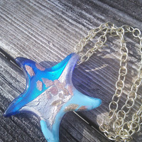Blown Glass Pendant, Star Fish Pendant, Blown Glass Jewelry, GypsyJewelry, Hippie Necklace, Boho Necklace, Mermaid Necklace, Starfish animal