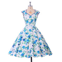 Fast Shipping Stock Cotton Floral Print Vintage Retro dress 50s Swing Rockabilly Pinup Knee Length Special Occasion dresses