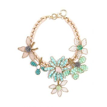 Handmade Beaded Flowers And Ribbon Statement Necklace