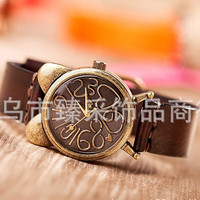 Leather watch - female watch - the ancient bronze series love dial - men and women can wear