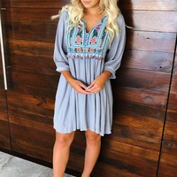 Just Like Home Dress: Grey/Multi