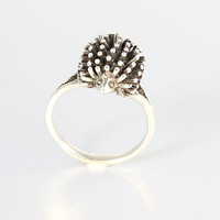Hedgehog Sterling silver Ring, Porcupine Quills Hedgehog jewelry Vintage size 6 ring