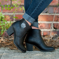 Monogrammed Ankle Booties