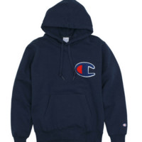 """ Champion""Fashion print blouse casual hooded sweater Navy blue(5 color)"