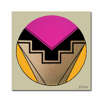Original abstract painting on canvas of a circle. Geometric with pink, magenta, yellow, gold, and black.