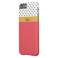 Monogram Coral Pink & White Black Dots Color Block Barely There iPhone 6 Case