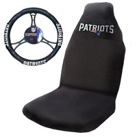 New England Patriots NFL Car Seat Cover and Steering Wheel Cover Set