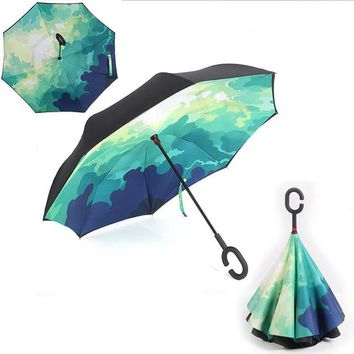 Inverted Double Layer Chuva Umbrella Self Stand Rain Protection C-Hook Hands For Car