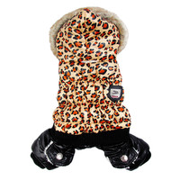 Cute Leopard Clothing for Dogs Puff Pet Jacket Overalls Dogs Jumpsuits Coat Dog Winter Clothes