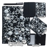 """Jersey Bling® BLING Universal Kindle Fire 7"""" HD 1st & 2ND GEN, HDX, NON-HD, Crystal and Rhinestone Faux Leather Case with Built-In Stand, FREE Stylus (3D Black Rose)"""