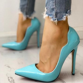 Fashion single shoes shallow mouth high slender heel pointed hood mouth ladies high heels butterfly edge cyan shoes