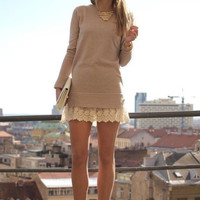 Casual Lace Embroidered Edge Long Sleeve Mini Dress