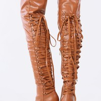 Pointed Toe Lace Back Thigh High Boots