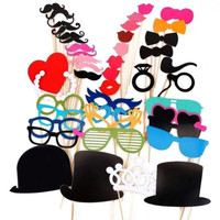 Wedding Photo Props on a Stick Mask Beard Mustache Hat Glasses Lips 44pcs Set Birthday Party Decoration H11792|28701 = 1932213252