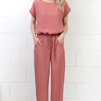 Chic Drawstring Waist Jumpsuit {L. Brick}