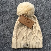 Autumn Winter Ugg Soft Cotton Knit Beanies Hat Beige