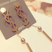 YSL show the face small ear nail atmosphere simple rose gold eardrop fine long tassel with fashion temperament earrings