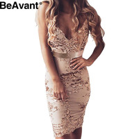 BeAvant Sexy deep v neck bodycon dress Evening party elegant summer dress  2016  sequin short  dress Women beach mesh vestidos