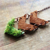 Chevron Necklace, Grass and Leather, Geometric Necklace