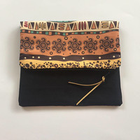 FOLD OVER CLUTCH/Clutch Bag/Ethnic Clutch /Folded Handbag/Fold over Black Clutch/Ethnic Clutch Bag/Gift For Her