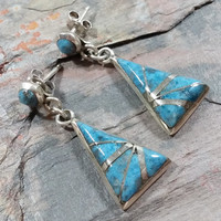 Vintage Handmade Turquoise Sterling Silver Triangle Dangles Lines of Silver Signed K.E.K Attractive Southwest Southwestern Western Style