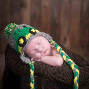Cute Crochet John Deere Hat with Tassels and Diaper Cover
