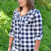 Country Backwoods Flannel - Navy/White