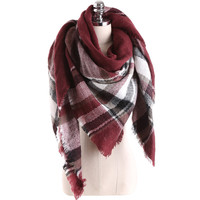 Winter Cashmere Plaid Scarf Lovely Wrap Shawl (140*140cm)=9572852111