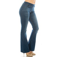 Cher Flare Pull on Jeans - Medium Denim