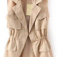 Khaki Lapel Drawstring Waistline Vest with Multiple Pockets Details