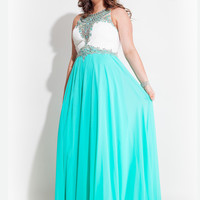 Rachel Allan 7402 Plus Size Prom Dress High Neck