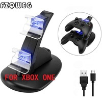 FZQWEG 2 pcs USB LED Light Dual Controller Charging Dock Station Charger For Microsoft for Xbox One Controllers Game Accessories