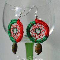 Dream Catcher Earrings - Dreamcatcher Earrings - With Unakite /Epidote Gemstone - Unakite Earrings - Epidote Earrings