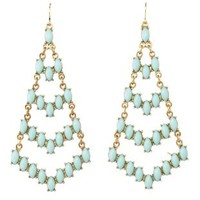 Faceted Stone Chandelier Earrings by Charlotte Russe - Mint