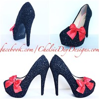 Black Glitter Platform Pumps, Red Pin Up Bow Prom High Heels