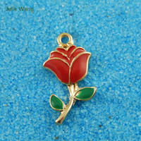 Julie Wang 5PCS Alloy Charm Gold Color Red Enamel Rose Pendant Charms Handmade Hanging Tops
